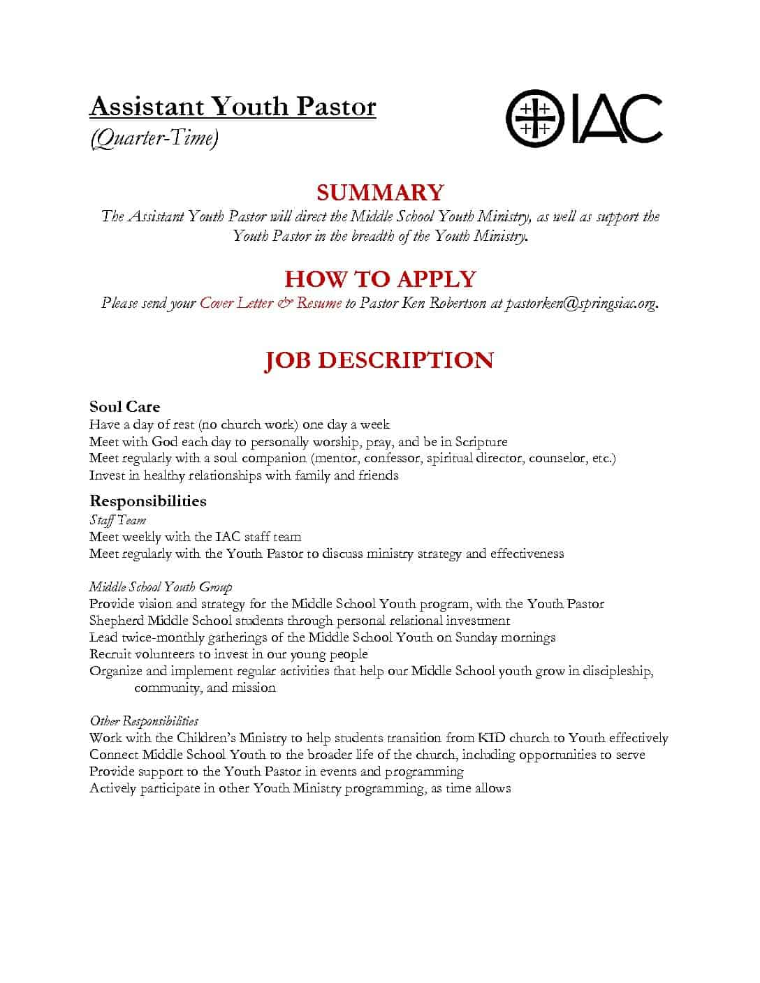 Church Youth Worker Cover Letter first time job resume examples ...